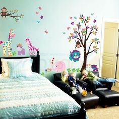 monkey elephant lion zooyoo wall sticker for kids room zooyoo5099 decorative adesivo de parede removable pvc wall decal