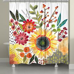 Floral Shower Curtains, Unique Shower Curtains, Bathroom Shower Curtains, Curtain Accessories, Up House, Passion Flower, Abstract Shapes, Dorm Decorations, Creative Art
