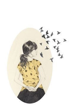 #woman #illustration #bird