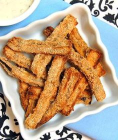 Baked Eggplant Fries with Lemon Dill Dipping Sauce. Replace breadcrumbs with almond flour for paleo friendly fries- other eggplant recipes here too. Ways To Cook Eggplant, Eggplant Recipes, Healthy Eggplant, Vegetarian Recipes, Cooking Recipes, Healthy Recipes, Snacks Recipes, Sauce Recipes, Drink Recipes