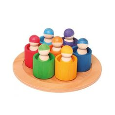 Grimm's 7 Friends in 7 bowls is a unique wooden sorting and matching toy with peg dolls. The amazingly versatile peg dolls, bowl and tray allows little imaginations to blossom and grow naturally through play. Toddler Age, Toddler Toys, Kids Toys, Grimm's Toys, Grimms Rainbow, Childrens Shop, Wooden Rainbow, Water Based Stain, Eco Friendly Toys