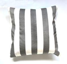 Kissenhülle, Kissen, Streifen, grau, weiß, 40 x 40 cm, Baumwolle - pinned by pin4etsy.com