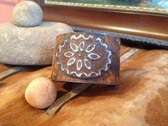 Steel Leather Backed Cuff Bracelet by SpavinawCreekGallery on Etsy