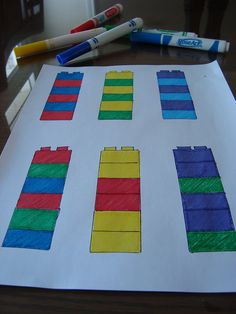 Patterning Game with mega blocks Montessori Activities, Preschool Activities, Space Activities, Educational Activities, Family Math Night, Music Math, Lego Math, Big Lego, Mega Blocks