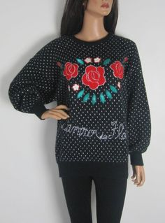 Vintage 1980s Oversized Flecked Rose Print Jumper available to buy online at Virtual Vintage Clothing £22