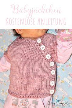 Kostenlose Strickanleitung für die Puerperium Strickjacke für Neugeborene auf deutsch – ohne Naht