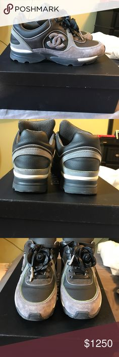 Chanel Sneakers Black/Silver/Gray only worn a few times. No trades. With additional purchase of a pair of premium leather Aglity Italy rose petal collection laces. (The leather is 100% real) CHANEL Shoes Sneakers