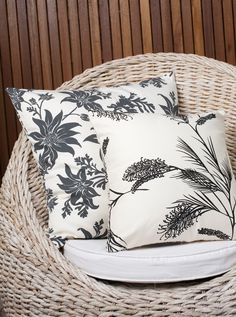 Image of Cushion Cover-FLANNEL FLOWER IN CHARCOAL