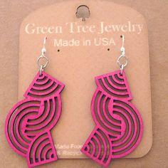 TANGLED DIRECTIONS Green Tree Jewelry FUSCHIA laser-cut wood earrings 1508 #GreenTreeJewelry #DropDangle
