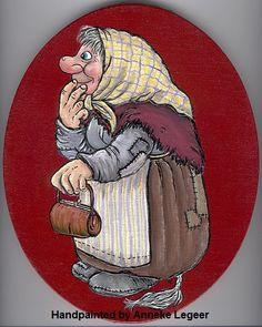 """"""" Trollmor """", handpainted by Anneke Legeer, the Netherlands, naar voorbeeld van Rolf Lidberg, Fantasy Figures, Gnomes, Cartoon Characters, Poppies, Scandinavian, Puppet Theatre, Creatures, Hand Painted, Animation"""