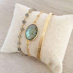 Set of Three Bracelets with Labradorite Gemstones // Elegant Gift Idea for Her // Beads & Chain Bracelet Stack