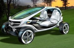 Mercedes-Benz is thinking about solar-powered golf carts with beverage cooling cup holders.