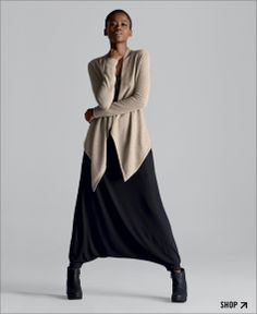 #eileenfisher/wouldn't have tried this, but it looks great: wore my beige wrap over all black