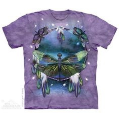 T-shirt | Dragonfly Dreamcatcher T-shirts  $19.99 This high quality T-shirt is hand dyed and printed in the United States. This is not an iron-on decal that will crack and flake off. The ink is deeply embedded in the fibers which guarantees a long lasting print design and extraordinary comfort.  100% Cotton Pre-shrunk