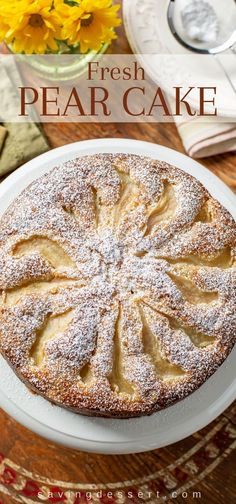 Our rustic, no-mixer Fresh Pear Cake with candied ginger is lightly sweet and terrific served for breakfast, brunch or dessert. Pear And Ginger Cake, Pear Cake, Pear And Almond Cake, Pear Recipes, Cake Recipes, Dessert Recipes, Jelly Recipes, Fruit Recipes, Fall Desserts