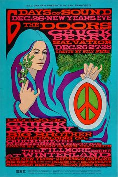 The Doors, Chuck Berry --- 6 days of sound - end of Dec 1967 - at Winterland, San Francisco - Artist Bonnie MacLean - special New Years Eve show with Jefferson Airplane, Big Brother and the Holding Co and Quick Silver