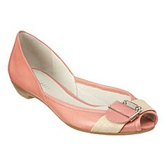 pale peachy-pink peep toe flats with cream buckle
