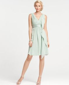 Blue-Green Ann Taylor silk bridesmaids dress.  (Is this the exact color you were looking for, Elyssa?)