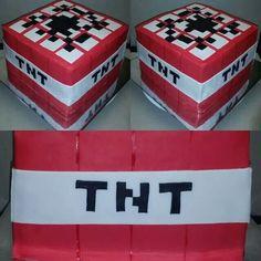 Minecraft tnt fondant cake