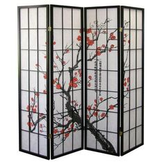 4-panel Natural-fiber Room Divider With Plum Blossoms