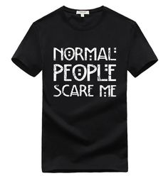 2017 fashion normal people scare me streetwear hip hop funny t shirts Men T-Shirt Tops Tees brand slim mma pp yezzus