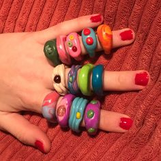 Fimo Ring, Polymer Clay Ring, Clay Art Projects, Clay Crafts, Funky Jewelry, Cute Jewelry, Diy Clay Rings, Nail Ring, Chunky Rings
