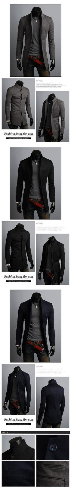 KOREAN Mens Slim Fit Premium Button Jacket China Collar Long Blazer  HD6-XS S. Manteau Homme ... 1c530138b0e2