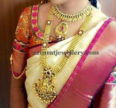 Jewellery Designs: Kundan Floral Lakshmi Long Set in Gold