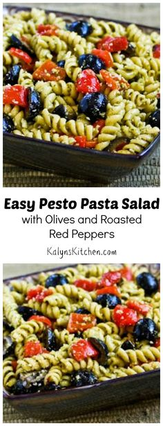 This Easy Pesto Pasta Salad with Olives and Roasted Red Peppers is perfect for any summer holiday party or family get together! [from KalynsKitchen.com]