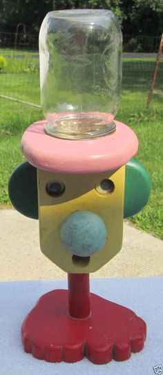 VINTAGE ANTIQUE WOODEN GUMBALL CANDY MACHINE WITH GOLDEN HARVEST MASON JAR #HandMade #gumball