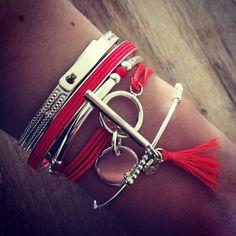 Composition de bracelets argent et orange - l'Atelier d'Amaya #bijoux #argent #été #femme #mode