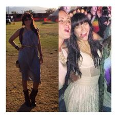 This is a throwback to last years COACHELLA!   Cristy Rivera wearing grey backless dress and crochet high waist skirt!!!   COACHELLA 2014 be ready for OPIUM @Cristi Rivera