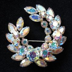 Gorgeous Incredibly Brilliant Sherman Aurora Borealis Wreath Brooch from Vintage Jewelry Girl! #vintagejewelry #vintagebrooch #sherman