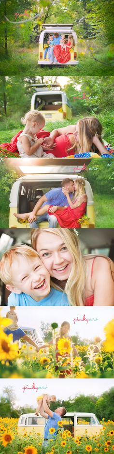 I want to do a photo shoot like this with my little family? Anyone got a spare vw bus lying around??? Anyone know a good field full of sunflower??? No???