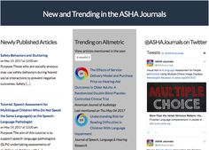 The ASHA Journals Academy website includes a live feed of their published articles that are trending online. The feed has been put together using the Altmetric API and features the donut visualisation for each article. Visitors to the site can click on the each of the Altmetric donuts to explore the online mentions further.