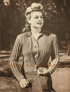 Fee vintage knitting pattern - Belinda cardigan, bulky weight, 1940s Patons and Baldwins No. 172 | via Subversive Femme