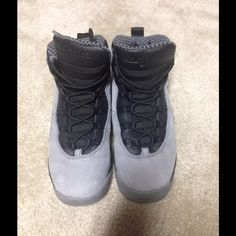 Jordan 10 Cool Grey ✨No box but will provide box for protection.      ✨Smoke free home ✨Worn a couple of times (4 to be specific☺️) PRICE IS NEGOTIABLE TRADES ARE WELCOME ✨Size 8 in Women ✨ Jordan Shoes Sneakers
