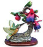 Hummingbird Figurine Porcelain with Fuchsia Flower on Wood Base