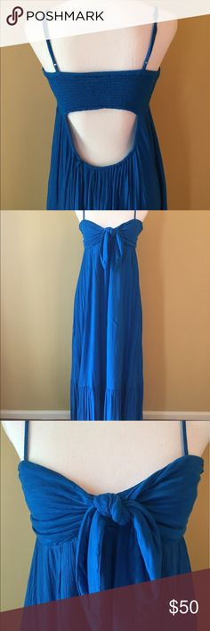 Free People Totally Tubular Dress Aqua blue high low maxi dress. Size XS. Knotted empire bodice that can be adjusted along with the straps. Smocked back. Lower back cut out. Ruffled hem. Sexy and comfortable at the same time. EUC. Free People Dresses Maxi
