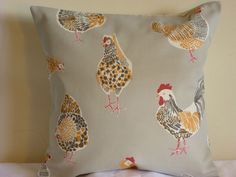 16  CLARKE CUSHION COVER FUNKY CHICKEN ROOSTER HEN COTTAGE SHABBY ORANGE GREY