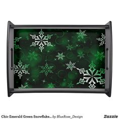 Chic Emerald Green Snowflake Motif Serving Tray Holiday Cards, Christmas Cards, Christmas Decorations, Natural Wood Finish, Christmas Items, Holiday Treats, Christmas Card Holders, Hand Sanitizer, Emerald Green