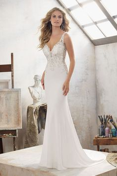 2017 Sexy Open Back V Neck Spandex Wedding Dresses Mermaid With Applique And Beads US$ 199.99 PGDPLRKEM36 - PrettyGirlDressess.com for mobile