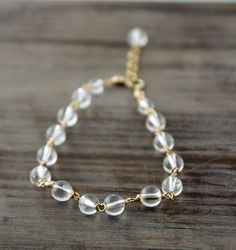 Crystal Quartz and 14k Gold Filled Bracelet by true2u on Etsy