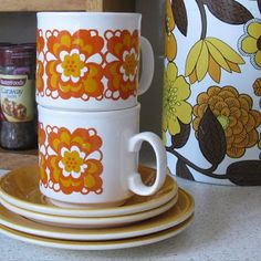 Retro cups and saucers