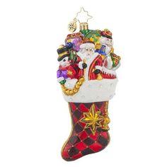Christopher Radko Stocked with Joy Glass Christmas Stocking Ornament