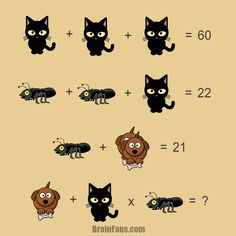 Brain teaser - Number And Math Puzzle - Riddle with answer - Riddle with answer with cat, ant and dog. Try to find the answer under one minute unles you are not able to comment; Riddles Logic, Logic Math, Riddles With Answers, Best Brain Teasers, Brain Teasers Riddles, Brain Teasers With Answers, Picture Logic, Math Night, Math Enrichment