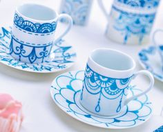"DIY Your Own ""Personal Coffee Break"" White Tableware; Use our guides to paint traditional Blue patterns onto Basic china. In Indian Style Mehndi Designs (Henna Tattoo)"