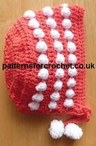 Free crochet pattern. Pattern category: Baby Hats. DK weight yarn. 0-150 yards. Features: Bobble stitch. Easy difficulty level.