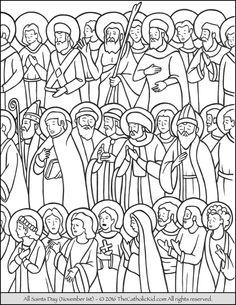 All Saints Day Coloring Page All Saints' Day (not to be confused with All Souls' Day) is November and is a Holy Day of Obligation. The day is dedicated to the saints of the Church whom have entered Heaven. Jesus Coloring Pages, Kids Printable Coloring Pages, Coloring Pages For Boys, Animal Coloring Pages, Coloring Pages To Print, Coloring Book Pages, Coloring Sheets, Adult Coloring, Catholic Saints For Kids