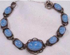 1920 ART DECO bracelet BLUE czech glass  star sapphire Stunning